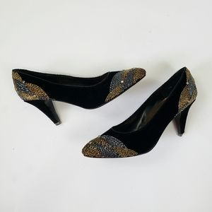 J. Renee | Velvet Beaded Black Heels Size 7